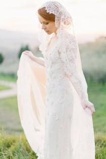 wedding photo - Wedding Veil, Lace Bridal Mantilla veil, Ivory Cathedral length veil - Style 301