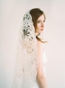 wedding photo - Giovanna Veil,Mantilla Veil,All Lace Veil,Bridal Veil,Wedding Veil,All Lace Veil,Vintage Veil,Long Mantilla Veil,Ivory veil, IvoryVeil