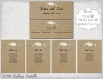 "wedding photo - Rustic Seating chart template Printable seating chart cards DIY kraft wedding table plan ""Rustic Flowers"" YOU EDIT Word instant Download"
