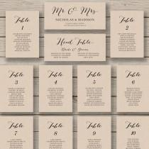 wedding photo - Wedding Seating Chart Template - Printable Seating Chart - Editable Table Plan - YOU edit in WORD - Rustic Seating Chart - Calligraphy style