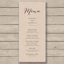 wedding photo - Wedding Menu Template - Rustic Wedding Menu - Printable Menu - YOU edit in WORD - print on Kraft