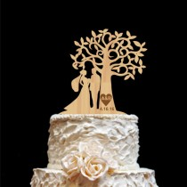 wedding photo - Rustic Wedding Cake Topper- Personalized Monogram Cake Topper - Mr and Mrs -