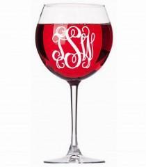 wedding photo - Monogram Decal Wine Glass Decal Wine Glass Sticker Three Initial Decal Monogram Sticker