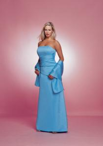 wedding photo - Satin Strapless Floor Length Ruched Shawl Strapless Blue
