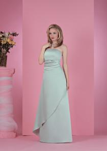 wedding photo - Floor Length Strapless Mint Satin Sleeveless Ruched