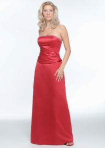wedding photo - Satin Red Strapless Floor Length Ruched