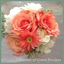 wedding photo - Country rustic coral bouquet, roses, daisies and hydrangeas. Bridal bouquet. Rustic wedding. Burlap decor.
