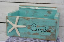 wedding photo - Card Wedding Box Holder Distressed Beach Nautical Rustic Starfish With Nautical Knot Baby Shower, Anniversary Many Colors To Choose