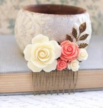 wedding photo - Cream Rose Comb Coral Rose Floral Comb Country Wedding Hair Comb Flower Adornment Bridesmaids Hair Accessories Hair Piece Bridal Hair Comb