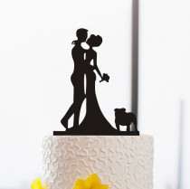 wedding photo - Wedding Silhouette Bride and Groom Kiss Cake Topper-Cake Topper with Englisg Bulldog-Personalized Wedding Cake Topper-Rustic Cake Topper