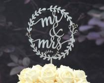 wedding photo - Rustic Linden Wood Wedding Cake Topper, Mr and Mrs Cake Topper Design 108