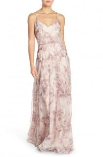 wedding photo - 'Inesse' Print Chiffon V-Neck Sleeveless Gown