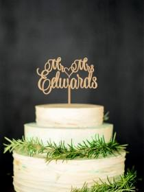 wedding photo - Mr Mrs Wedding Cake Topper Custom Last Name Personalized Wood Cake Topper Rustic Wedding