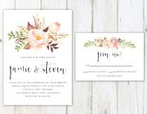 wedding photo - Rustic Wedding Invitation, Floral Wedding Invitation, Pretty Script Wedding Invitation