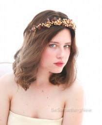 wedding photo - Rustic Woodland Golden Crown Wedding Headpiece, Gold and Amber Bridal Headpiece, Rustic Wedding Halo Beaded Wedding Hair Accessory