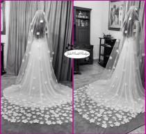 wedding photo - Mantilla wedding veil,lace mantilla veil,veil,simple veil,cathedral wedding veil,ivory wedding veil,Ivory Cathedral Length Lace Veil,White
