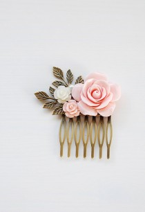 wedding photo - Pink Rose Hair Comb Blush Pink Wedding Hair Accessory Bridal Hair Comb Bridesmaid Hair Accessory Antique Gold Leaf Hair Comb French Country