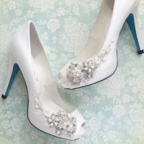 wedding photo - Something Blue Wedding Shoes With Handmade Crystal Blossom And Beaded Vine White Or Ivory Peep Toe Pumps - New #2242770