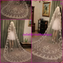 wedding photo - Alencon Lace Veil,Wedding Veil Cathedral,Lace Cathedral Veil,Mantilla Veil,Ivory Cathedral Veil,White Bridal Veil,Veil comb,Extra long veil