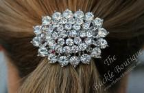 wedding photo - Rhinestone Oval Brooch FOE Fold Over Elastic Ponytail Holder Bling Crystal Diamante Hair Tie Accessory ~Fast Ship from Houston USA designer