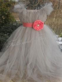 wedding photo - Flower girl dress Silver Grey/gray with Coral Flower Sash and Sleeves  Weddings, Parties, Formal Occasions... Newborn up to Size 16