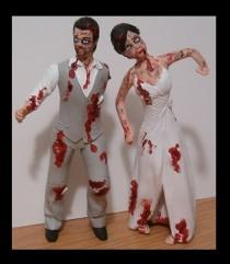 wedding photo - Custom Zombie Wedding Cake Toppers Figure set - Personalized to Look Like Bride Groom from your Photos