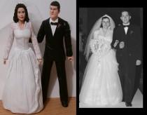 wedding photo - Custom Anniversary Cake Toppers Figure set - Personalized to Look Like Bride Groom from your Photos