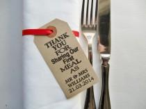 wedding photo - 60 Wedding Napkin Holders-Wedding Table Decor-Thank You for Sharing Our First Meal-Unique Wedding Favors-Weddings-Rustic Wedding Table