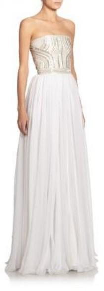 wedding photo - Alexander McQueen Embellished Strapless Silk Gown