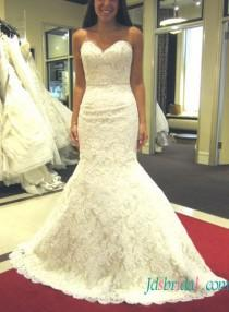 wedding photo - H1587 Inexpensive Glamour strapless lace mermaid wedding dress