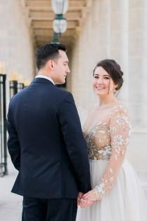 wedding photo - Hayley Paige Gown For A Sweet Parisian Elopement - French Wedding Style