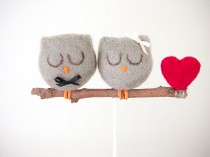 wedding photo - Owl Wedding Cake Topper, Needle Felted Owl Wedding Cake Topper, Grey Bride Groom Figurine, Cute Unique Rustic Woodland Wedding Cake Topper