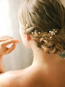 wedding photo - Bridal pearl bobby pins, wedding hairpins, bridal bobby pins, updo hair pins, set of 3 - style 140
