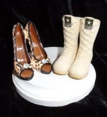 wedding photo - Army, Navy, Air Force, Marines Military Boot and high heel wedding cake topper.  Perfect for the patriotic groom and his high-class bride!
