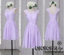 wedding photo - Lace Short Bridesmaid Dress ,Purple bridesmaid dresses, Bridesmaid dresses with Sweetheart Neckline,prom dress,evening dress 2016