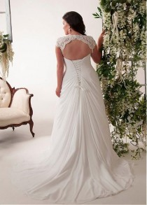wedding photo - Elegant Applique Chiffon Plus Size Wedding Dress