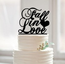 wedding photo - Fall in love wedding cake topper,custom words cake topper,unique fall in love with heart cake topper wedding,rustic glitter cake topper42378