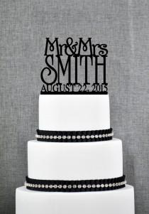 wedding photo - Mr and Mrs Cake Topper with Custom Date in your Choice of Colors, Personalized Last Name Topper, Elegant Bridal Gift, Modern Topper- S010