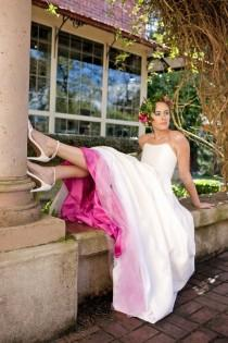 wedding photo - Pink Wedding Dress Two Piece, Silk Taffeta, BLOSSOM, Crop Top Or Full Corset With Skirt, Alternative, Other Colors