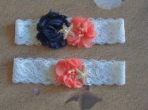 wedding photo - Garter, Beach Wedding Garter, Coral and Navy Garter Set, Starfish Garter, Beach Wedding Garter, Toss Garter, Beach Garter, Lace Garter
