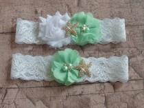 wedding photo - Mint Beach Wedding Garter Set, Starfish Bridal Garter Belts, White Lace Wedding Garter, Green garter Set, Destination Wedding Garter
