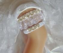 wedding photo - White French Lace Wedding Garter Set, Bridal Garter, White, Blue or Ivory Bling Garter, Keepsake Garter, Rhinestone Garter, Wedding Lingerie