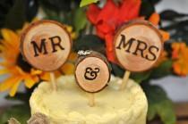 wedding photo - Rustic Wedding Cake Toppers Wedding Cake Decorations Rustic Decorations Wood Slices Woodland Wedding  mr and mrs Cake Toppers