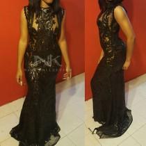 wedding photo - Prom Custom black KaIi sequin mermaid sleeveless sheer lace embroidery prom ball gown wedding dress