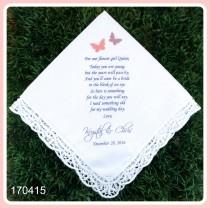 wedding photo - Wedding handkerchief-Flower Girl Gift-PRINT-CUSTOMIZE-Lace Hankerchief-Wedding Hankies-Wedding favor-Bride Gift to Flower Girl-Wedding Gift