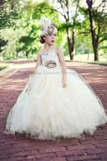 wedding photo - Flower Girl Dress, Vintage Flower Girl Tutu Dress, Ivory And Lace