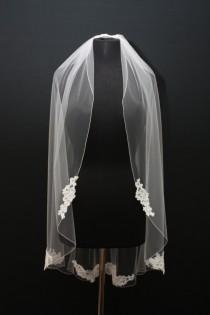 wedding photo - Alencon Lace Applique Veil, pencil edge, Couture Patch Lace Veil, Fingertip lace veil, Ivory lace veil, floral lace veil, bridal veil.
