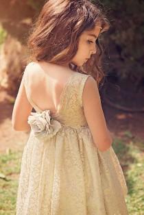 wedding photo - Flower Girl dress, Gold Flower Girl dress, Gold Lace Flower Girl Dress,Wedding Dress