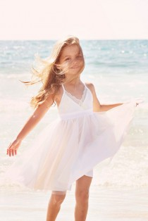 wedding photo - Ivory Lace and champagne Tulle dress flower girl Dress