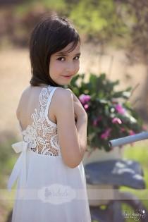 wedding photo - Wedding Ivory Lace Flower Girl Dress, Floor Length Lace Flower Girl Dress, Party Dress, Jr. Bridesmaid Dress